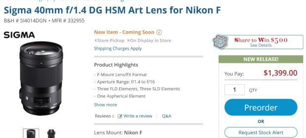 Sigma 40mm f/1 4 DG HSM Art Lens now Available for Pre-order