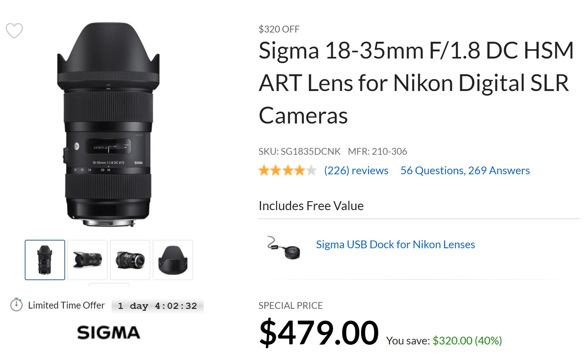 Super Hot – Sigma 18-35mm f/1.8 DC HSM Art Lens for $479 at Adorama !